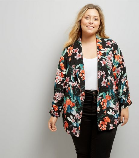 Curves Black Floral Print Blazer | New Look