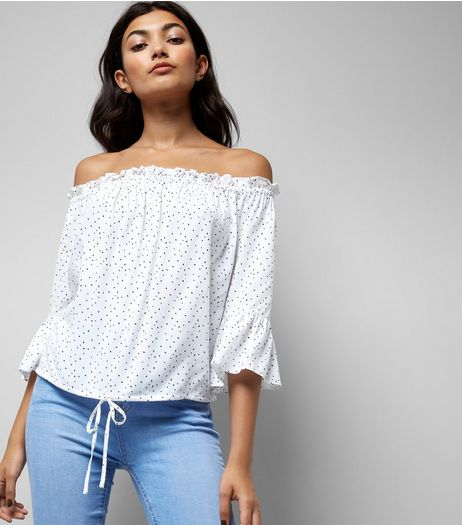 White Spot Print Bell Sleeve Bardot Neck Top | New Look