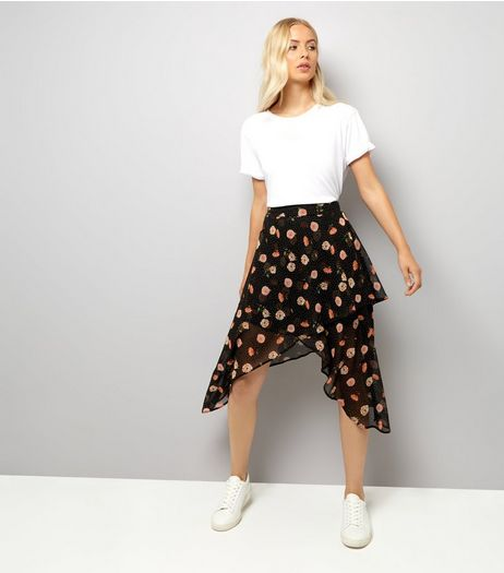 Black Spot and Floral Print Wrap Midi Skirt  | New Look