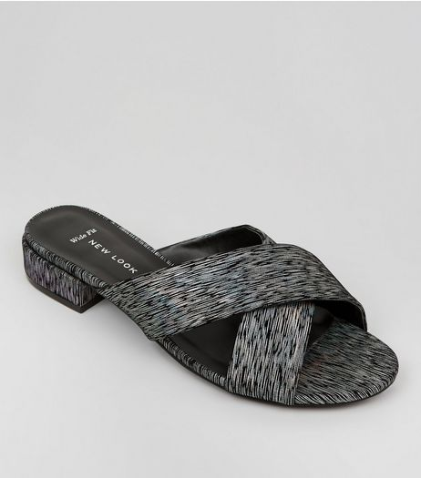 Wide Fit Black Iridescent Cross Strap Mules | New Look