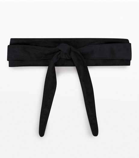 Black Suedette Tie Waist Belt | New Look