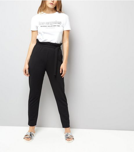 Cameo Rose Black Paper Bag Tie Waist Trousers | New Look