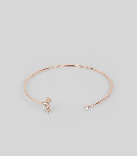 Gold Flower Crystal Arm Cuff | New Look