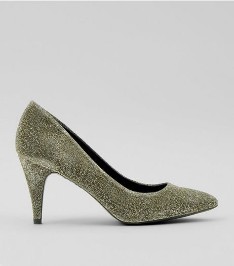 Gold Giltter Cone Heel Court Shoes | New Look