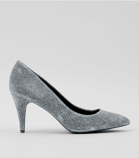 Silver Glitter Cone Heel Court Shoes | New Look