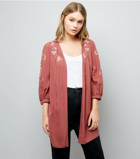 Orange Cross Stitch Floral Embroidered Kimono | New Look