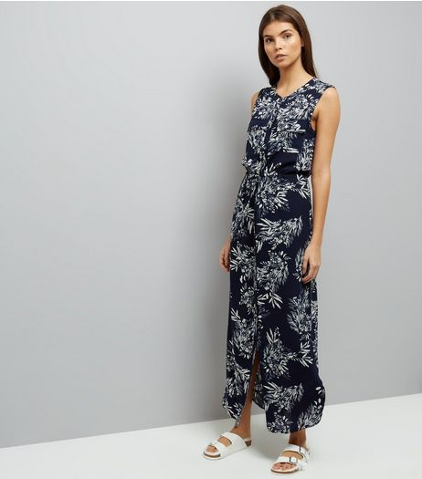 Apricot Navy Leaf Print Maxi Dress  | New Look