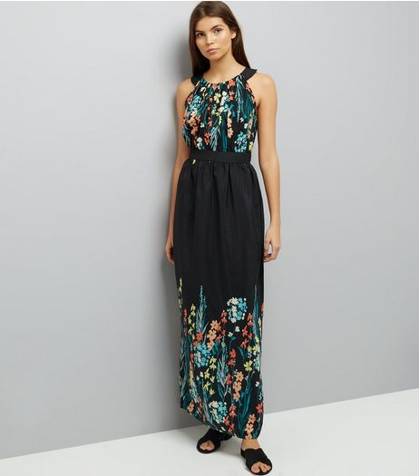 Apricot Black Floral Embroidered Maxi Dress | New Look