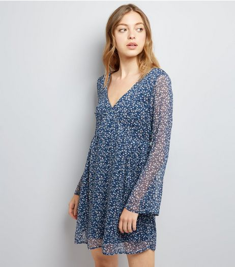Apricot Navy Ditsy Floral Print Dress | New Look