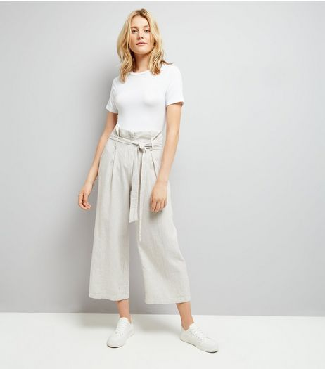 Cream Stripe Tie Waist Trousers  | New Look