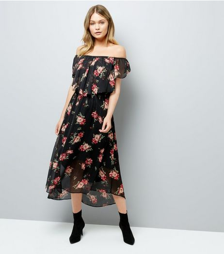 Black Floral Print Frill Trim Bardot Neck Midi Dress | New Look