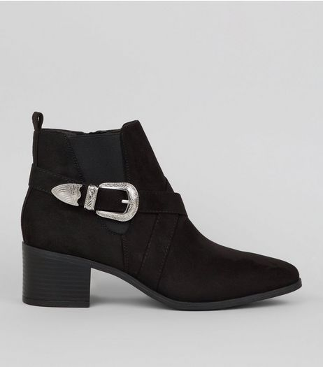 Black Suedette Buckle Western Ankle Boots | New Look