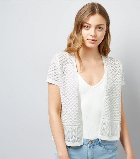 Apricot Cream Lace Trim Cardigan  | New Look