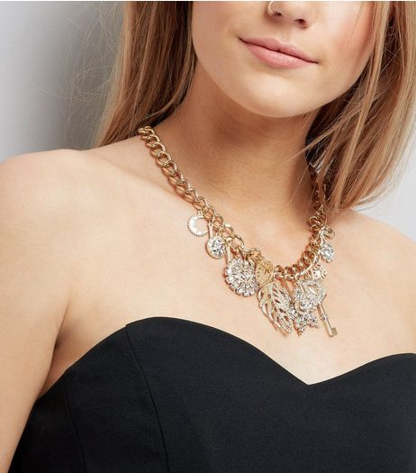 Gold Diamante Embellished Charm Necklace  | New Look