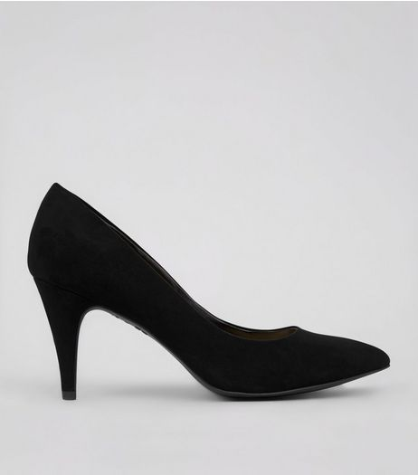 Black Suedette Cone Heels  | New Look