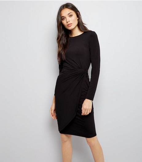Black Ruche Side Bodycon Dress | New Look