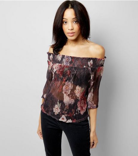 Black Floral Print Metallic Detail Bardot Neck Top | New Look