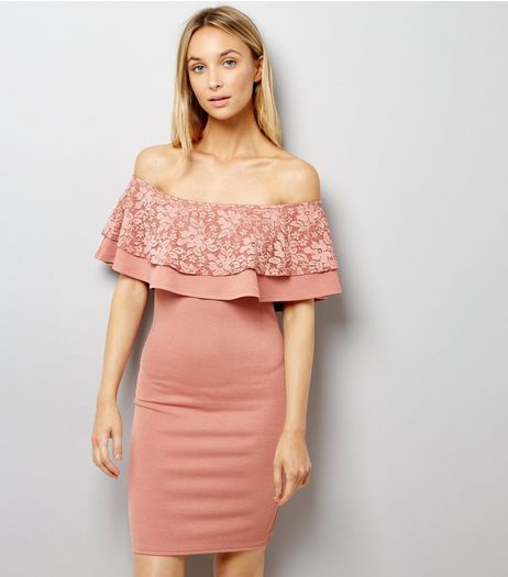Pink Lace Frill Trim Bardot Neck Bodycon Dress | New Look