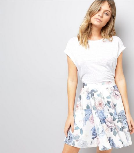 White Digital Floral Rose Print Skater Skirt | New Look