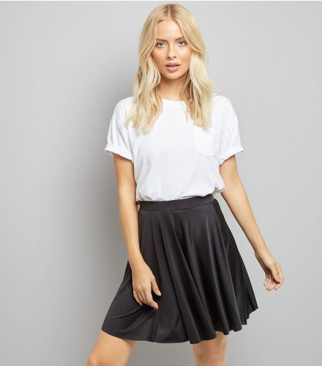 Black Mini Skater Skirt | New Look