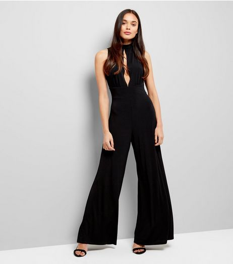 Black Tie Back Slit Front Jumpsuit | New Look