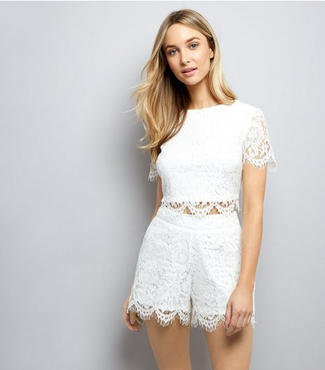 White Lace Shorts | New Look
