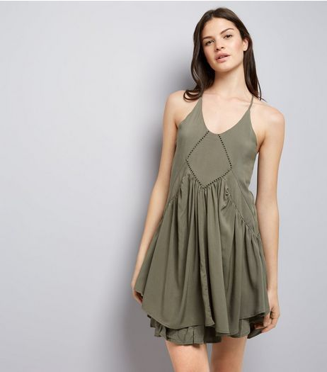 Apricot Khaki Racer Back Summer Dress | New Look