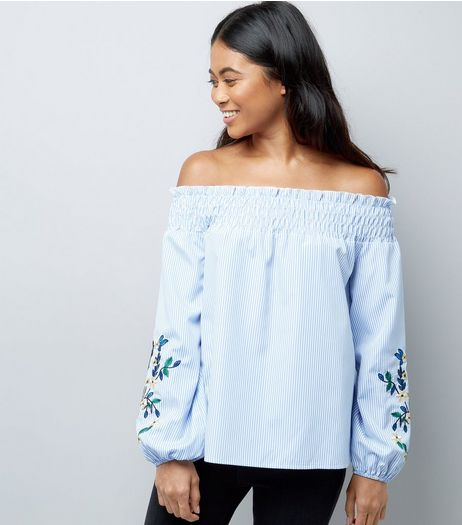 Petite Blue Embroidered Sleeve Bardot Neck Top | New Look