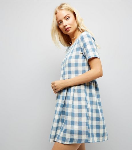 Apricot Blue Gingham Dress | New Look