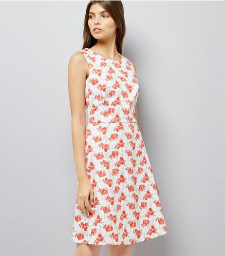 Apricot White Poppy Print Dress | New Look