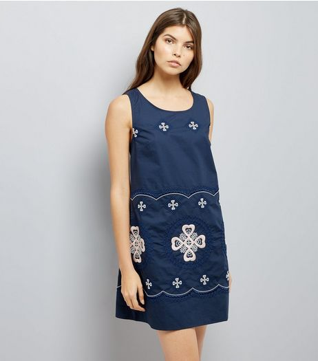 Apricot Navy Embroidered Detail Shift Dress | New Look