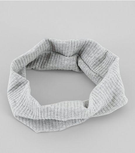 Grey Ribbed Stretch Hairband | New Look