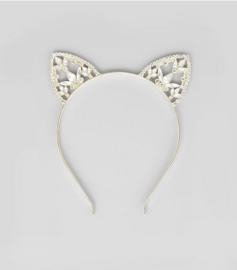 Gold Diamante Cat Ear Headband | New Look
