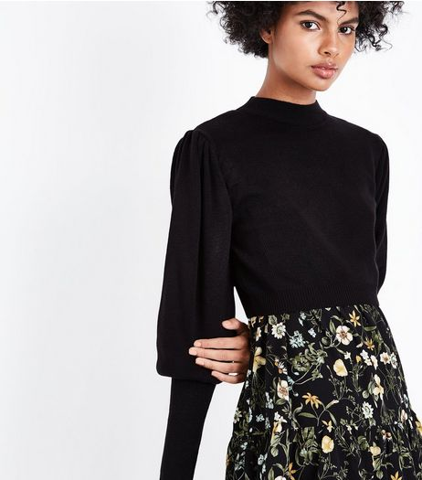 Black Puff Sleeve Cropped Jumper | New Look