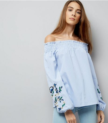Blue Stripe Embroidered Bardot Neck Top | New Look