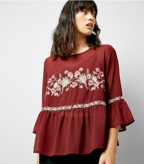 Burgundy Floral Embroidered Mesh Top | New Look