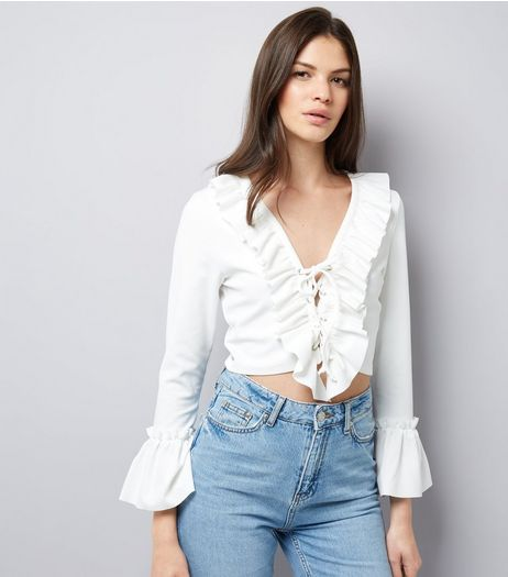 Cameo Rose White Lace Up Frill Trim Crop Top  | New Look