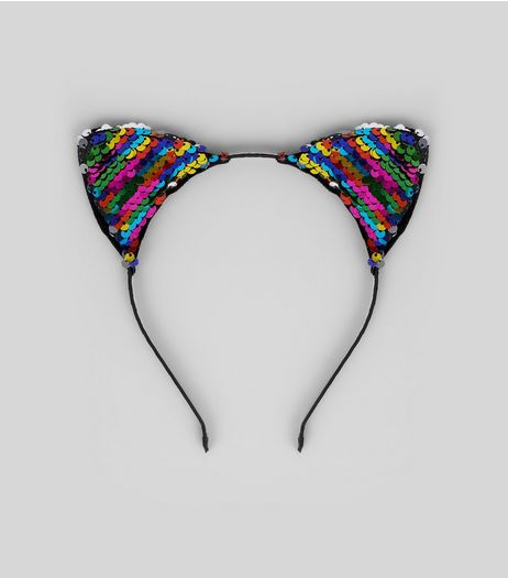 Rainbow Sequin Cat Ears Headband | New Look