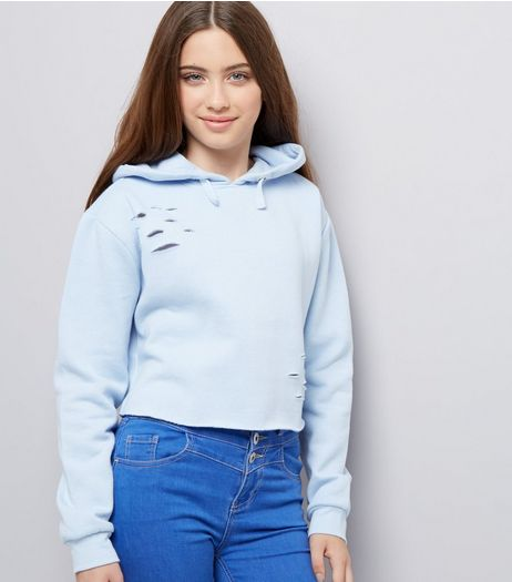 Teens Pale Blue Ripped Hoodie | New Look