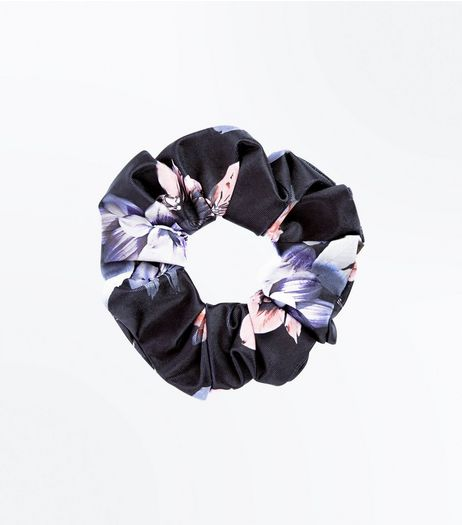 Black Floral Print Scrunchie | New Look