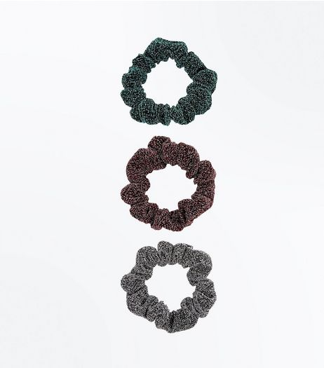 3 Pack Glitter Scrunchies | New Look