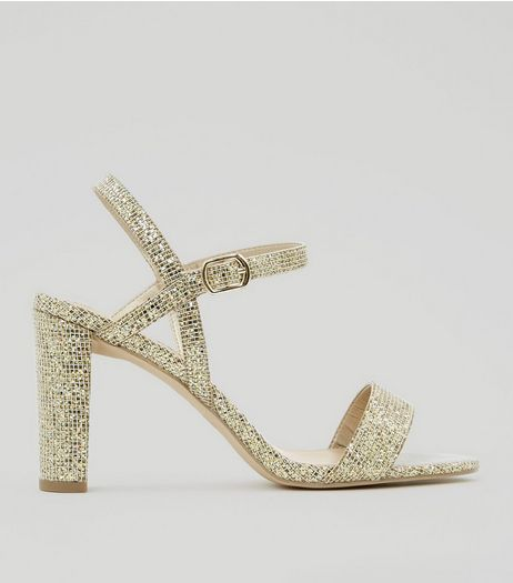 Wide Fit Gold Glitter Block Heel Sandals | New Look