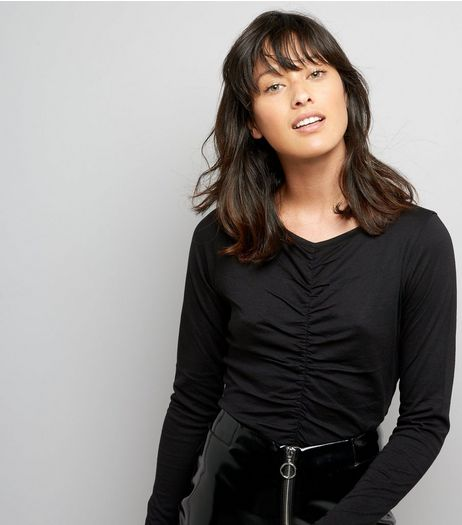 Black Ruched Front Long Sleeved Top | New Look