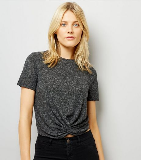 Grey Twist Front Crop T-Shirt | New Look