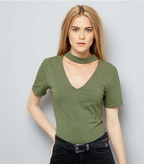 Olive Green Choker Neck T-Shirt | New Look