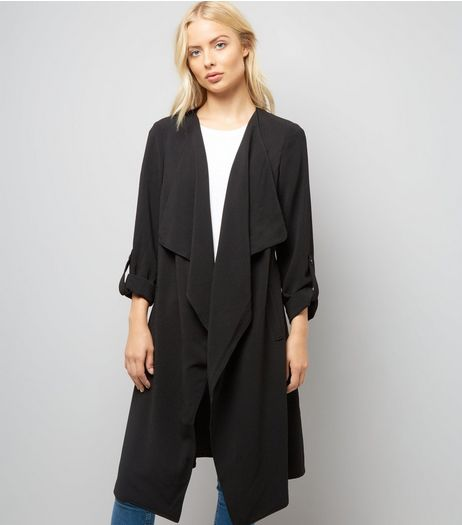 Black Waterfall Duster Jacket | New Look