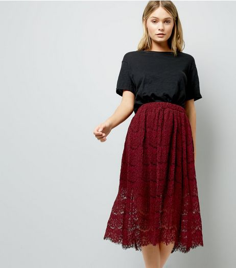 Burgundy Lace Midi Skirt  | New Look