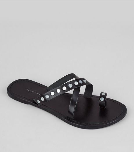 Wide Fit Black Studded Cross Strap Leather Sandals  | New Look