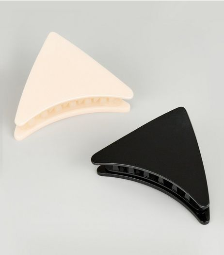 2 Pack Black and Nude Triangle Bulldog Clips | New Look