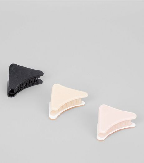 3 Pack Black, Nude And Pink Glitter Triangle Bulldog Clips | New Look